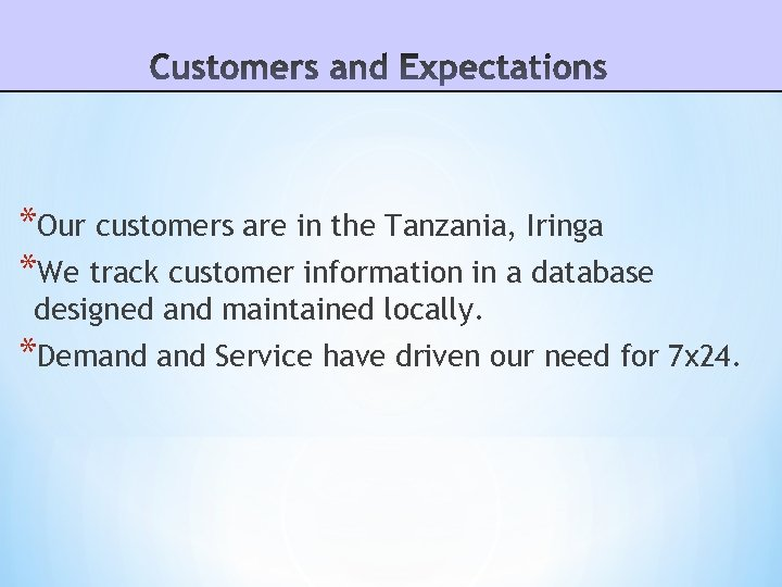*Our customers are in the Tanzania, Iringa *We track customer information in a database