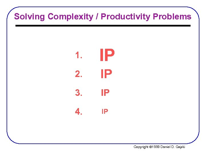 Solving Complexity / Productivity Problems 1. IP 2. IP 3. IP 4. IP Copyright