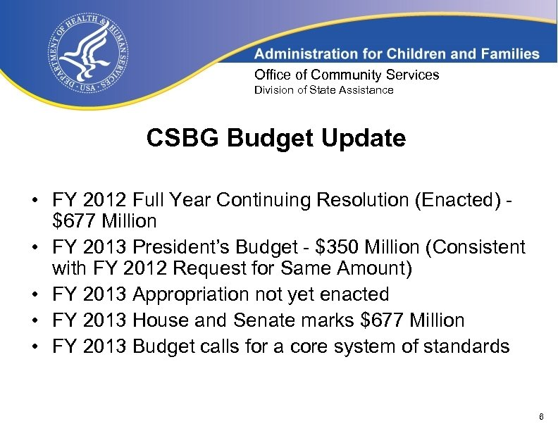 Office of Community Services Division of State Assistance CSBG Budget Update • FY 2012