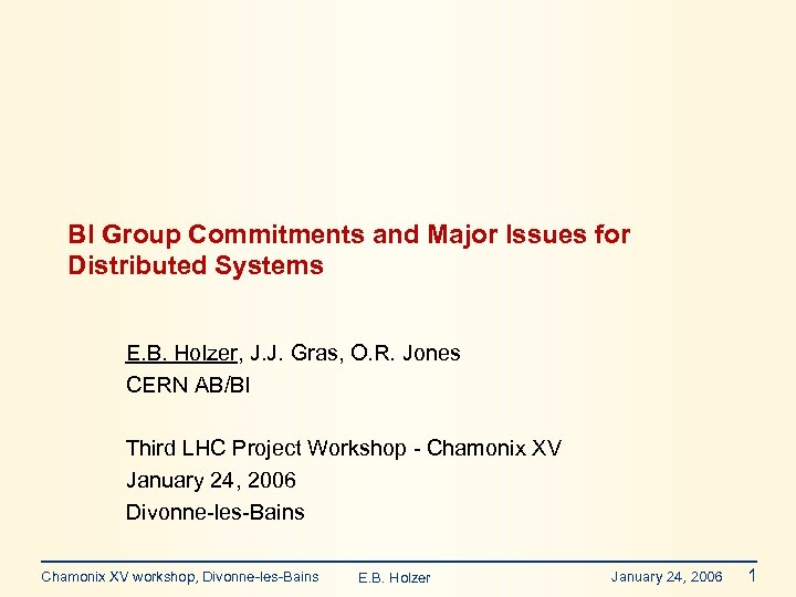 BI Group Commitments and Major Issues for Distributed Systems E. B. Holzer, J. J.