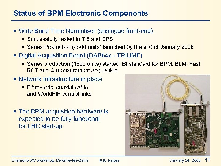 Status of BPM Electronic Components § Wide Band Time Normaliser (analogue front-end) § Successfully