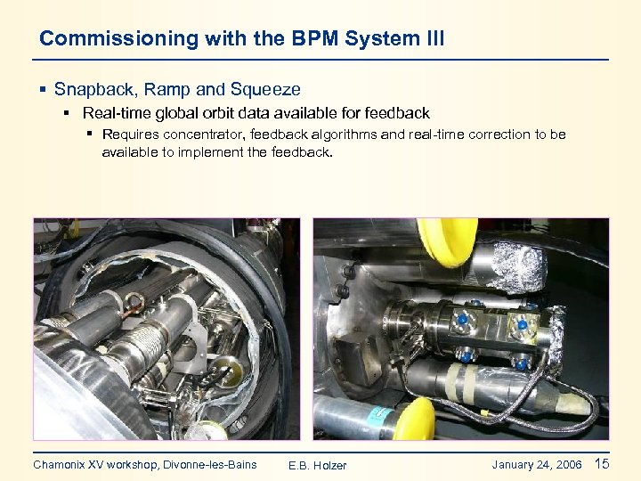 Commissioning with the BPM System III § Snapback, Ramp and Squeeze § Real-time global