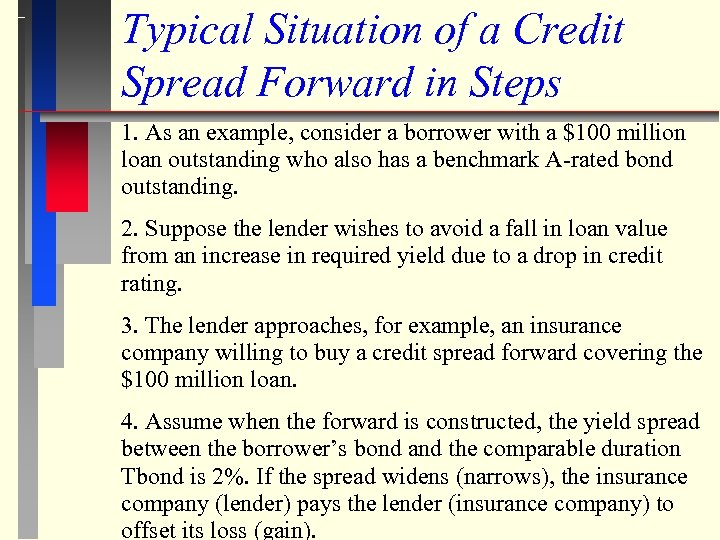 Typical Situation of a Credit Spread Forward in Steps 1. As an example, consider