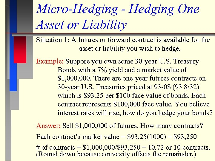 Micro-Hedging - Hedging One Asset or Liability Situation 1: A futures or forward contract