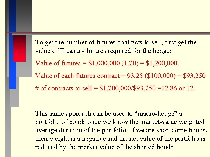 To get the number of futures contracts to sell, first get the value of