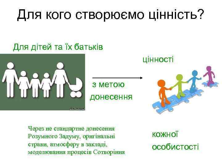 Для кого створюємо цінність? Для дітей та їх батьків цінності з метою донесення Через