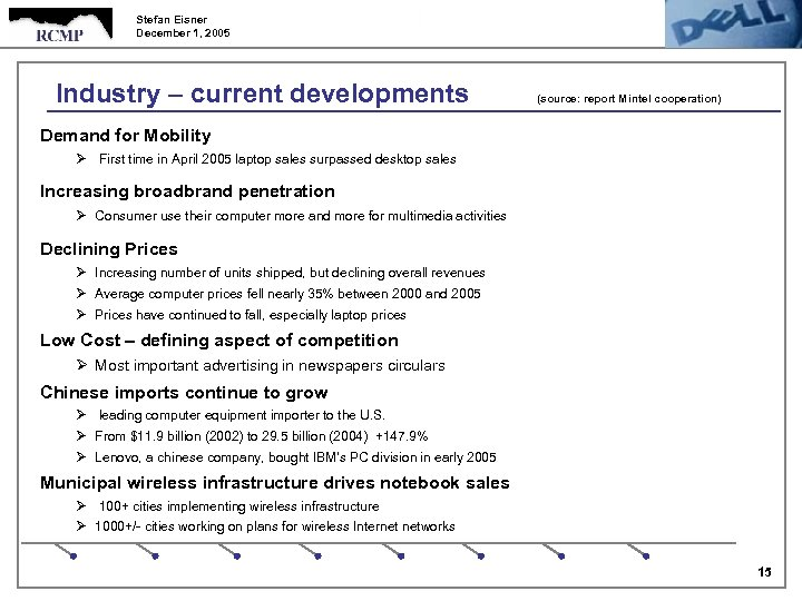 Stefan Eisner December 1, 2005 Industry – current developments (source: report Mintel cooperation) Demand