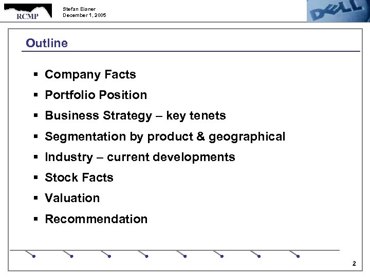 Stefan Eisner December 1, 2005 Outline § Company Facts § Portfolio Position § Business