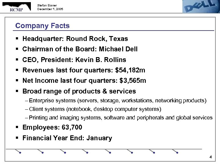 Stefan Eisner December 1, 2005 Company Facts § Headquarter: Round Rock, Texas § Chairman