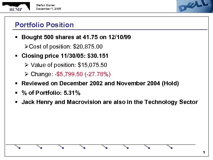 Stefan Eisner December 1, 2005 Portfolio Position § Bought 500 shares at 41. 75