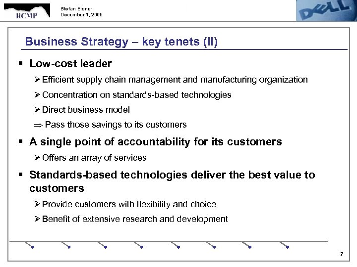 Stefan Eisner December 1, 2005 Business Strategy – key tenets (II) § Low-cost leader