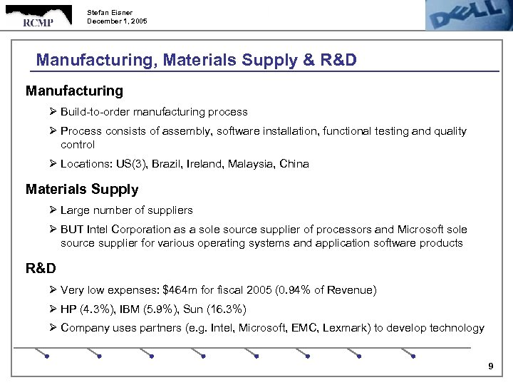 Stefan Eisner December 1, 2005 Manufacturing, Materials Supply & R&D Manufacturing Ø Build-to-order manufacturing