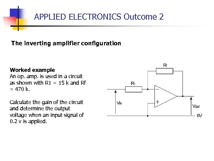 APPLIED ELECTRONICS Outcome 2 The inverting amplifier configuration Worked example An op. amp. is