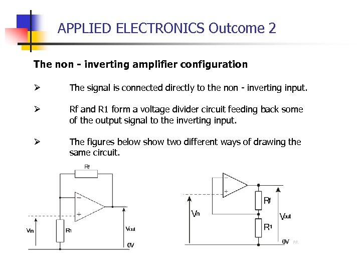 APPLIED ELECTRONICS Outcome 2 The non - inverting amplifier configuration Ø The signal is