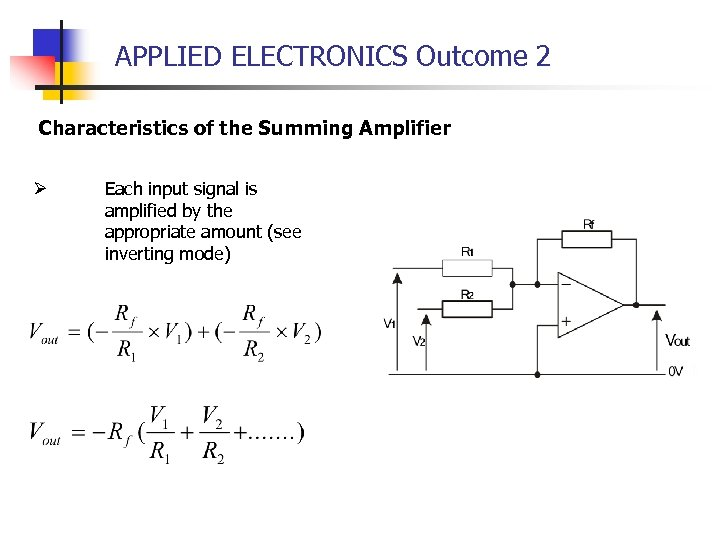 APPLIED ELECTRONICS Outcome 2 Characteristics of the Summing Amplifier Ø Each input signal is