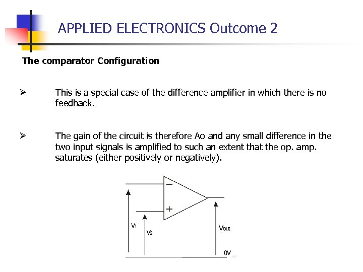 APPLIED ELECTRONICS Outcome 2 The comparator Configuration Ø This is a special case of