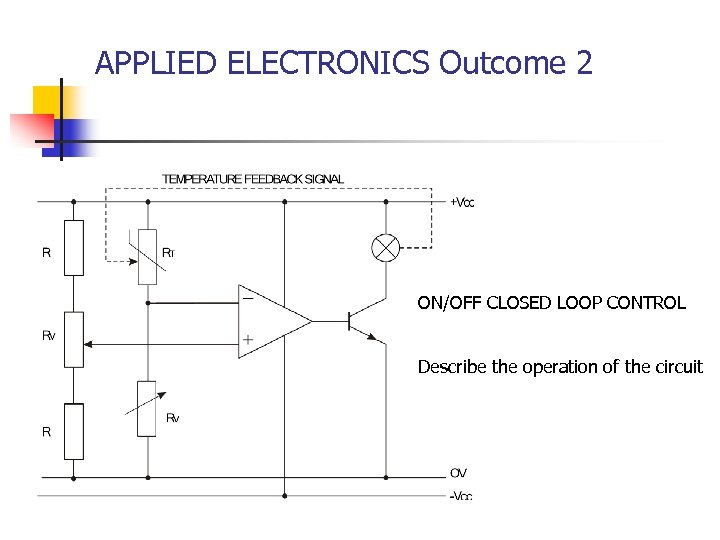 APPLIED ELECTRONICS Outcome 2 ON/OFF CLOSED LOOP CONTROL Describe the operation of the circuit