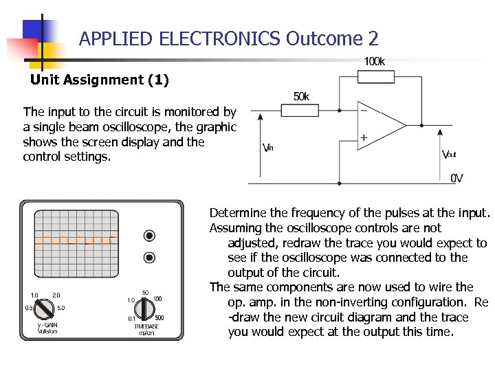 APPLIED ELECTRONICS Outcome 2 Unit Assignment (1) The input to the circuit is monitored