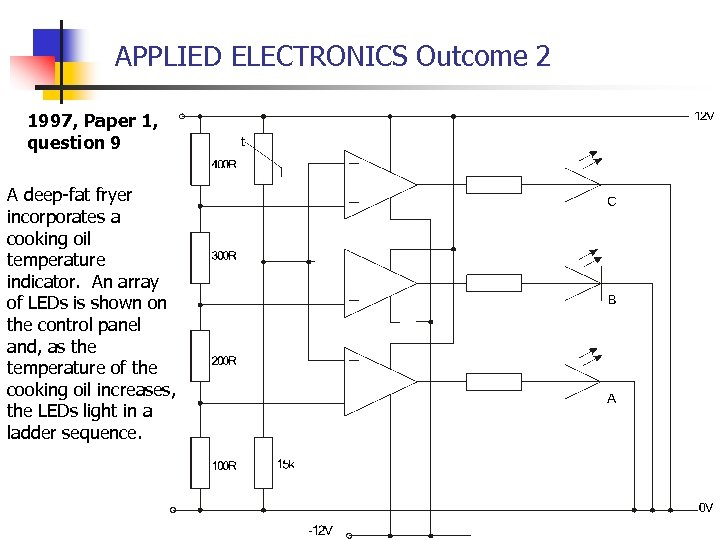 APPLIED ELECTRONICS Outcome 2 1997, Paper 1, question 9 A deep-fat fryer incorporates a
