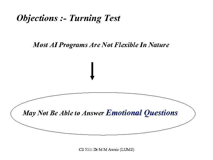 Objections : - Turning Test Most AI Programs Are Not Flexible In Nature May