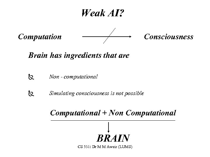 Weak AI? Computation Consciousness Brain has ingredients that are Ñ Non - computational Ñ