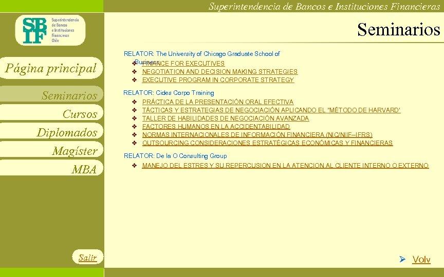Superintendencia de Bancos e Instituciones Financieras Seminarios Página principal Seminarios Cursos Diplomados Magíster MBA