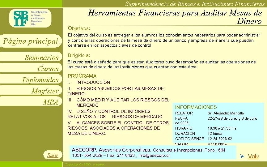 Superintendencia de Bancos e Instituciones Financieras Herramientas Financieras para Auditar Mesas de Dinero Objetivos: