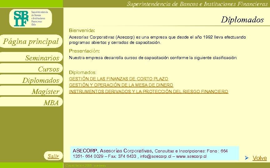 Superintendencia de Bancos e Instituciones Financieras Diplomados Bienvenida: Página principal Asesorías Corporativas (Asecorp) es
