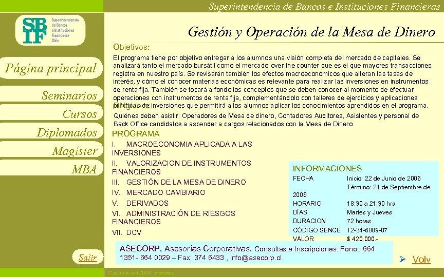 Superintendencia de Bancos e Instituciones Financieras Gestión y Operación de la Mesa de Dinero