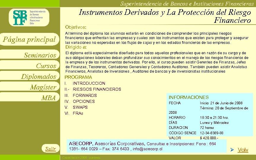 Superintendencia de Bancos e Instituciones Financieras Instrumentos Derivados y La Protección del Riesgo Financiero