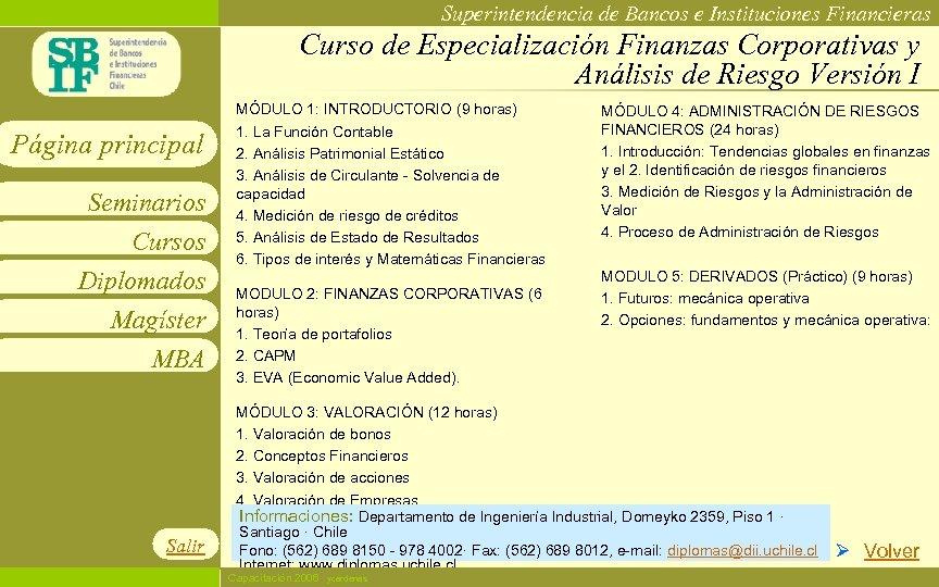 Superintendencia de Bancos e Instituciones Financieras Curso de Especialización Finanzas Corporativas y Análisis de