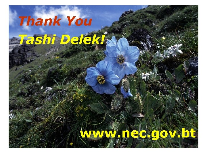 Thank You Tashi Delek! www. nec. gov. bt