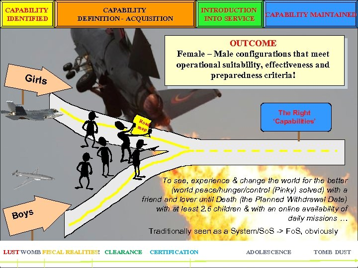 CAPABILITY IDENTIFIED CAPABILITY DEFINITION - ACQUISITION INTRODUCTION INTO SERVICE OUTCOME Female – Male configurations