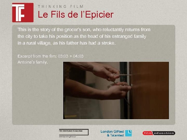 Le Fils de l'Epicier This is the story of the grocer's son, who reluctantly