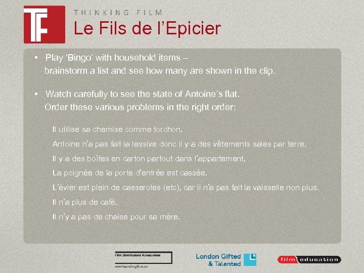 Le Fils de l'Epicier • Play 'Bingo' with household items – brainstorm a list