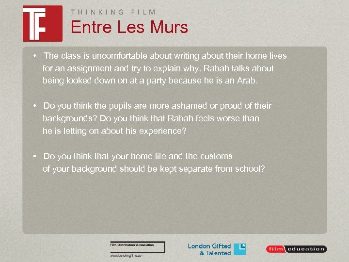 Entre Les Murs • The class is uncomfortable about writing about their home lives