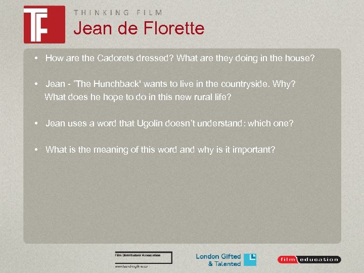 Jean de Florette • How are the Cadorets dressed? What are they doing in