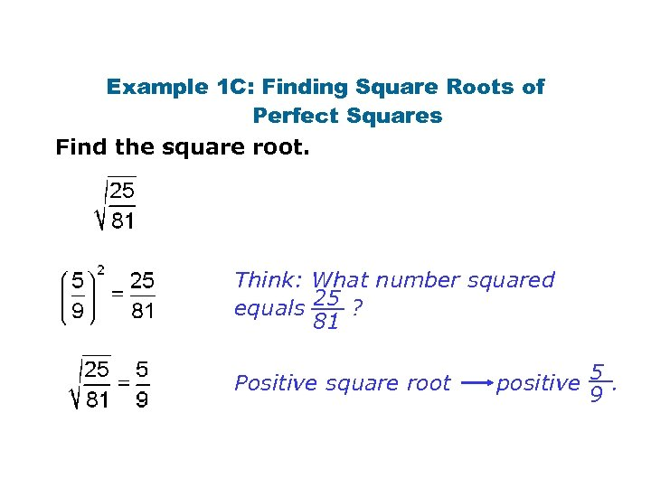 Example 1 C: Finding Square Roots of Perfect Squares Find the square root. Think: