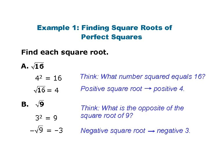 Example 1: Finding Square Roots of Perfect Squares Find each square root. A. 42
