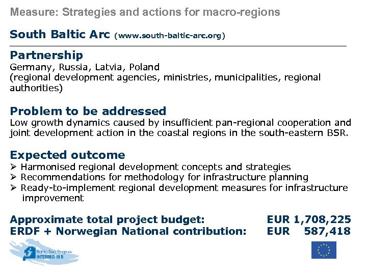 Measure: Strategies and actions for macro-regions South Baltic Arc (www. south-baltic-arc. org) Partnership Germany,