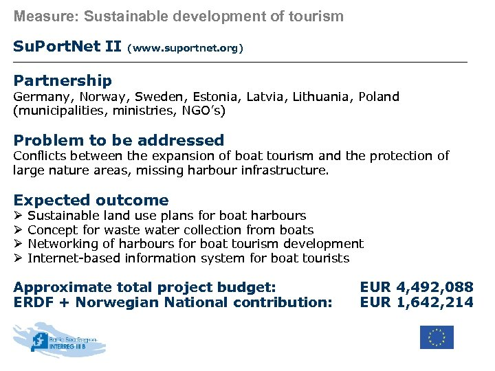 Measure: Sustainable development of tourism Su. Port. Net II (www. suportnet. org) Partnership Germany,