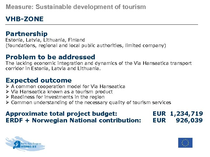 Measure: Sustainable development of tourism VHB-ZONE Partnership Estonia, Latvia, Lithuania, Finland (foundations, regional and