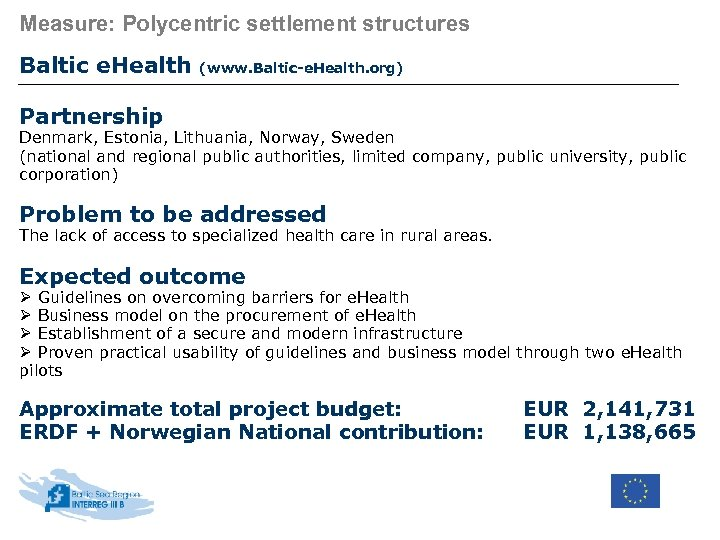 Measure: Polycentric settlement structures Baltic e. Health (www. Baltic-e. Health. org) Partnership Denmark, Estonia,