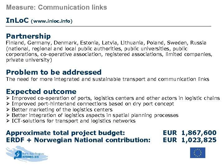 Measure: Communication links In. Lo. C (www. inloc. info) Partnership Finland, Germany, Denmark, Estonia,