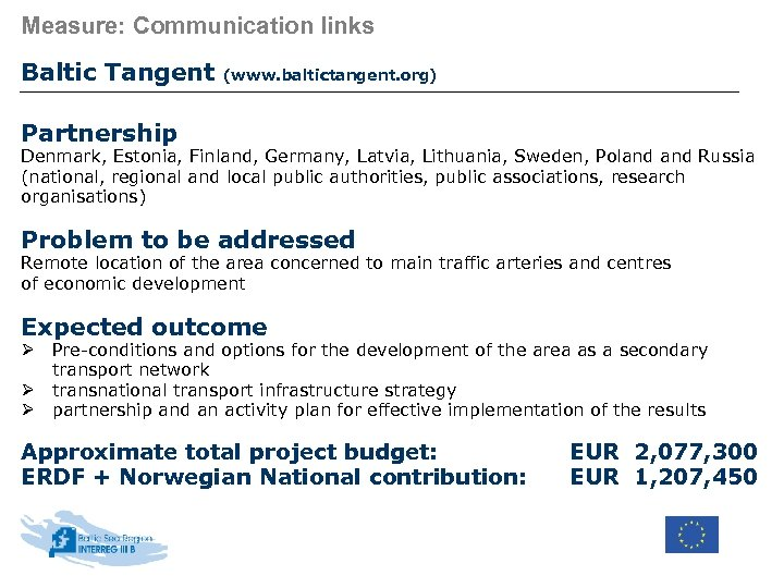 Measure: Communication links Baltic Tangent (www. baltictangent. org) Partnership Denmark, Estonia, Finland, Germany, Latvia,