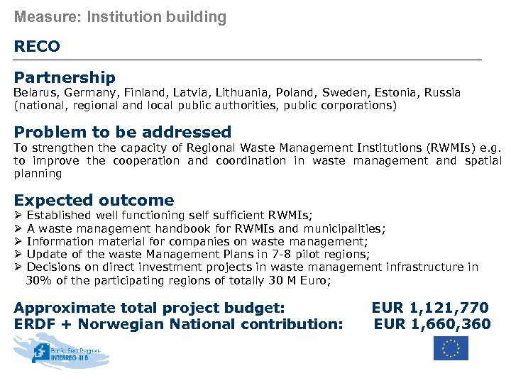 Measure: Institution building RECO Partnership Belarus, Germany, Finland, Latvia, Lithuania, Poland, Sweden, Estonia, Russia