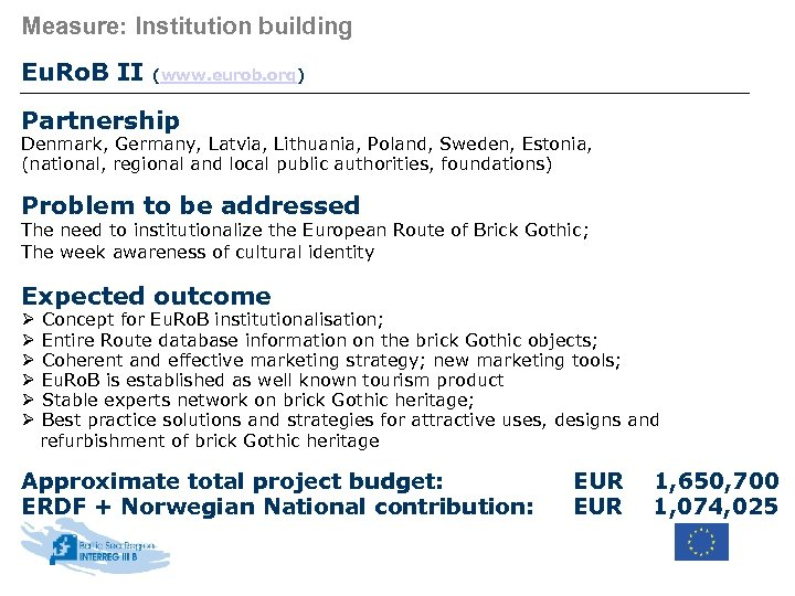 Measure: Institution building Eu. Ro. B II (www. eurob. org) Partnership Denmark, Germany, Latvia,