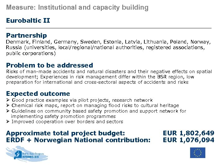 Measure: Institutional and capacity building Eurobaltic II Partnership Denmark, Finland, Germany, Sweden, Estonia, Latvia,