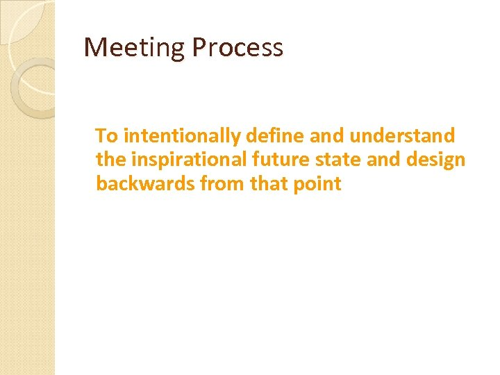 Meeting Process To intentionally define and understand the inspirational future state and design backwards