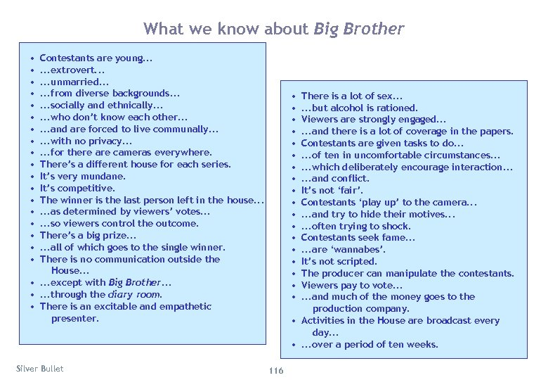 What we know about Big Brother • • • • • Contestants are young.
